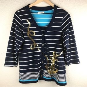 Onque Casuals Sequin Sailor Anchor Cardigan